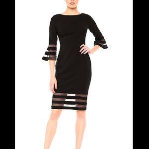 Calvin Klein Black Bell Sleeve Dress Size 0 Petite